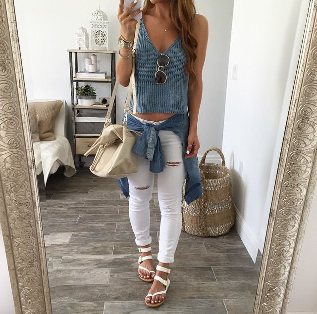 My Airport outfit - Possibly (White distressed jeans - cute top and Sunglasses)