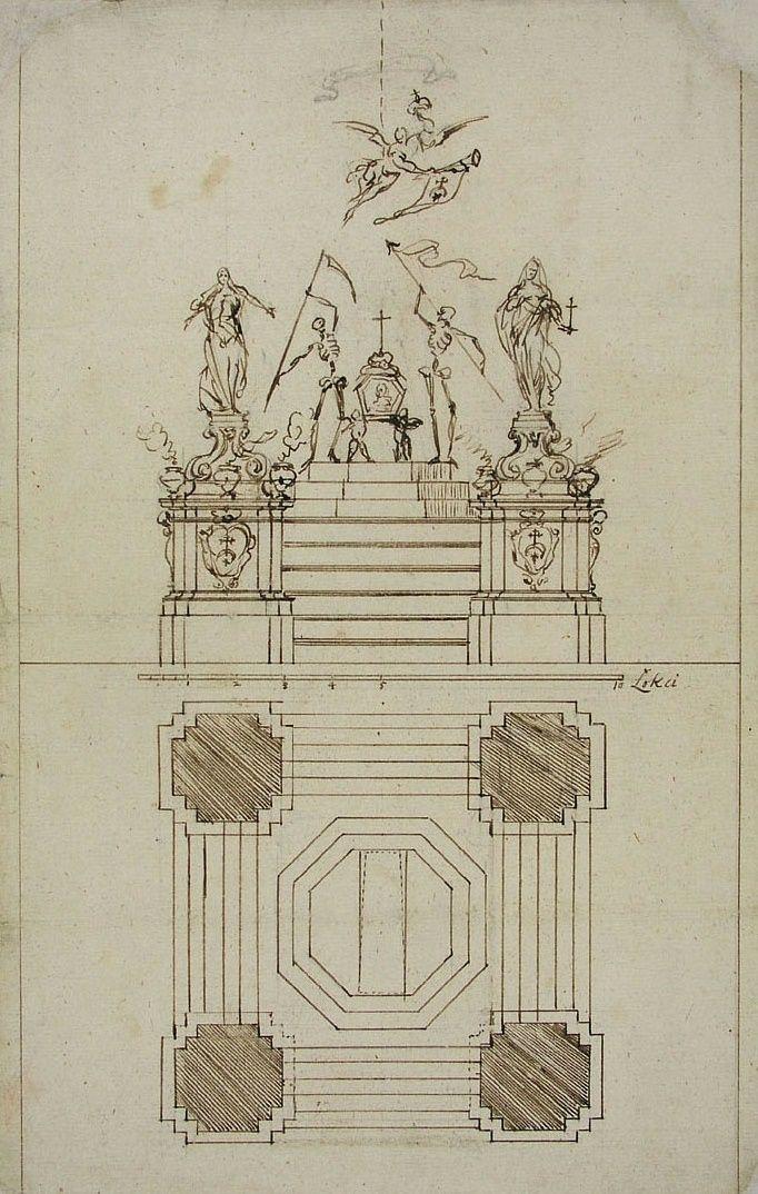 Castrum doloris of King's mother Gryzelda Wiśniowiecka née Zamoyska in Saint John's Cathedral in Warsaw by Tylman Gamerski, 1672 (PD-art/old), Biblioteka Uniwersytecka w Warszawie