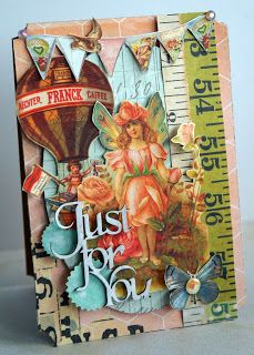Just for you Card using Prima Patterened papers that were fussy cut, Memory Maze Chipboard