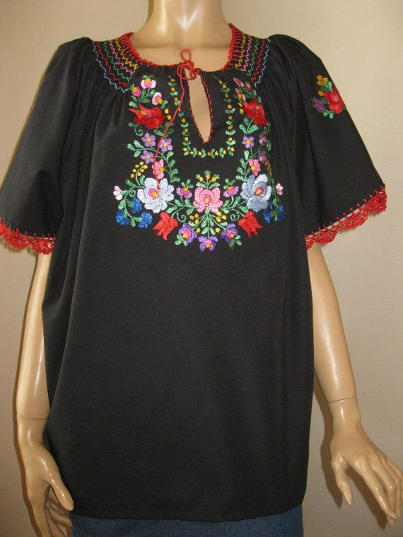 Hand embroidered Hungarian Matyo Kalocsa  blouse by RealRomania