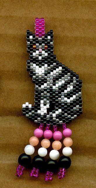 Grey Tabby Cat Beaded Pendant