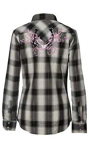 Cowgirl Hardware® Women's Black & Cream Plaid w/ Vine Embroidery Long Sleeve Western Shirt | Cavender's Boot City