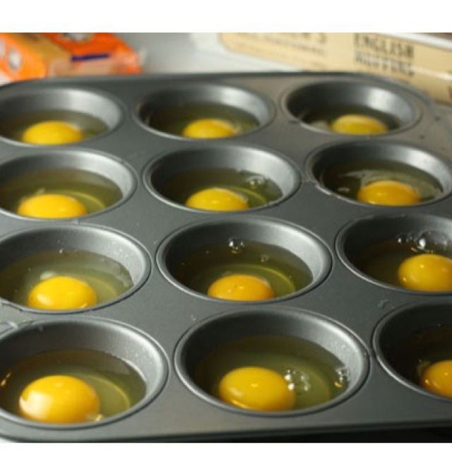 Ha! Why didn't I know this already?? To feed a big crowd, bake your eggs in a cupcake pan! Great size!!