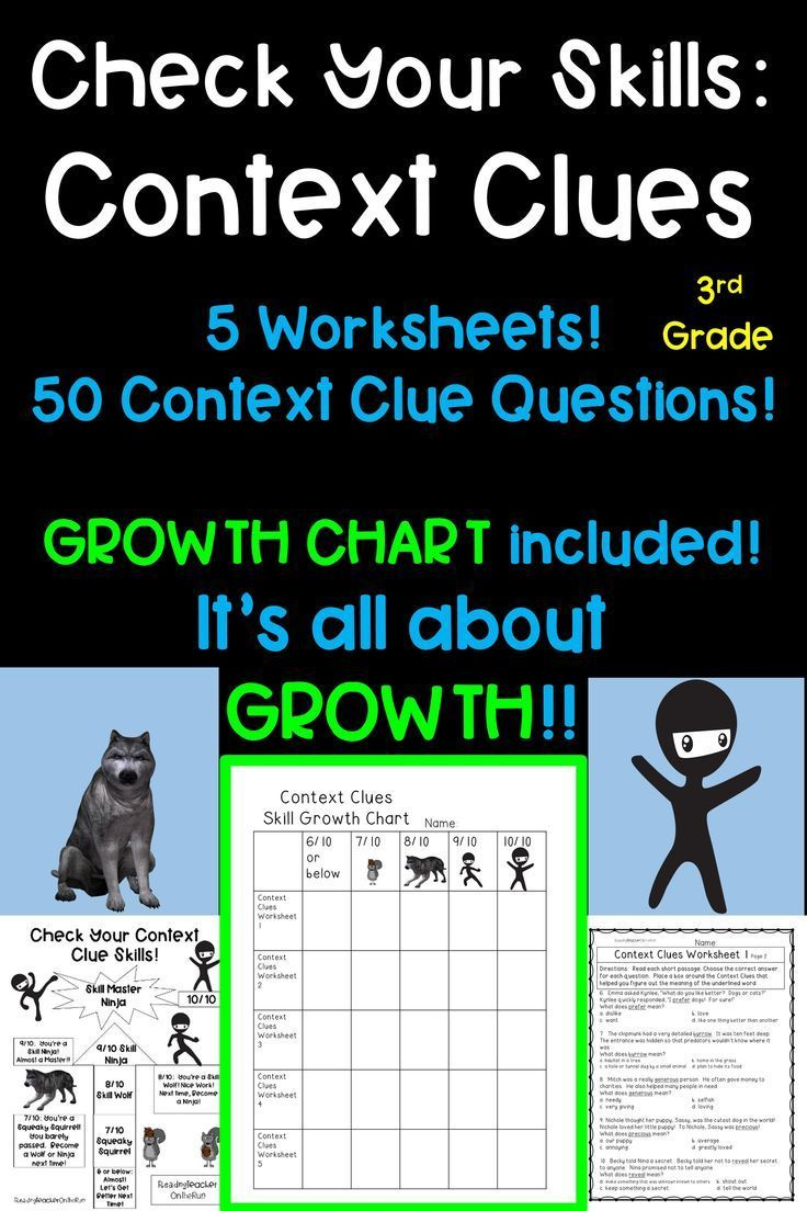 Context Clues Worksheets! Growth Mindset! #contextclues #3rdgrade #ela  #elar   Context clues worksheets [ 1104 x 736 Pixel ]