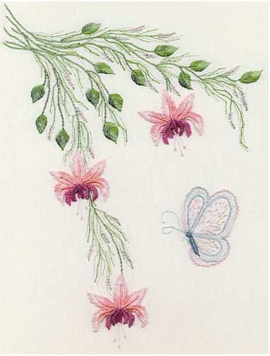 FUCHSIAS & BUTTERFLY BRAZILIAN EMBROIDERY KIT