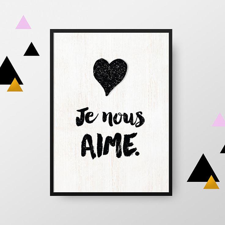 Affiche A4 : Je nous aime (vendue sans cadre) : Décorations murales par crea-bisontine
