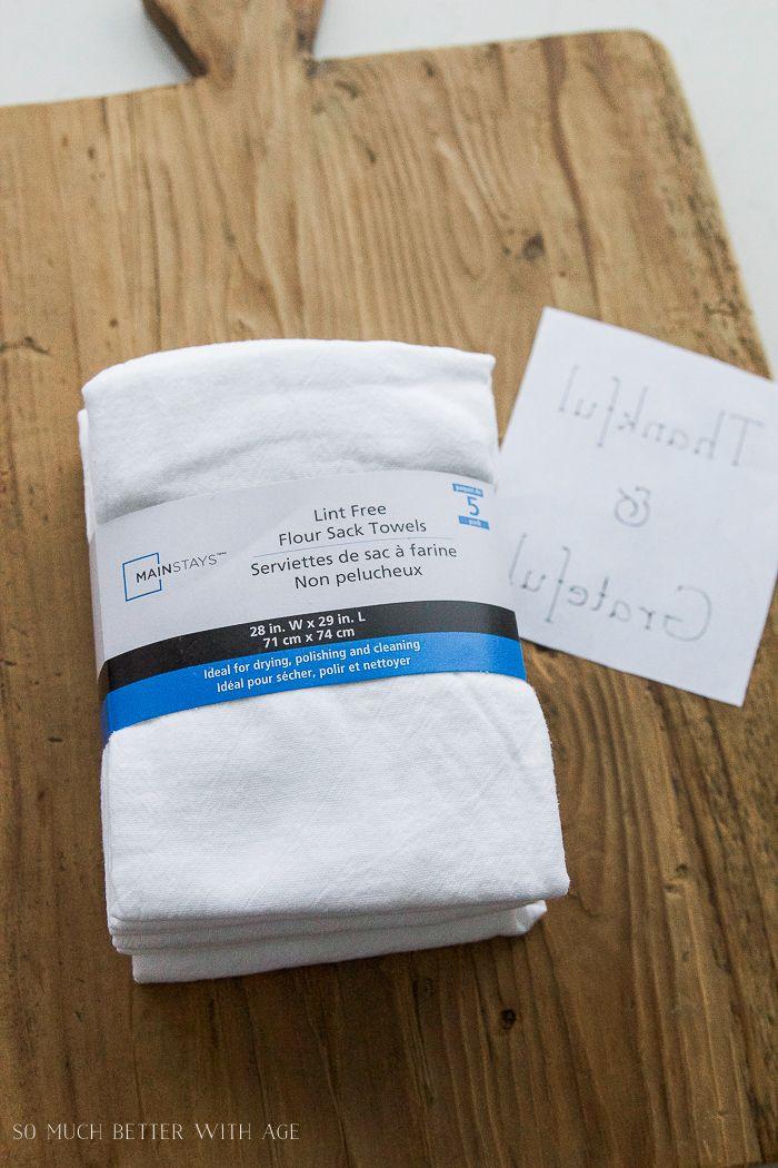 white flour sack towels- Thanksgiving napkin transfer tutorial