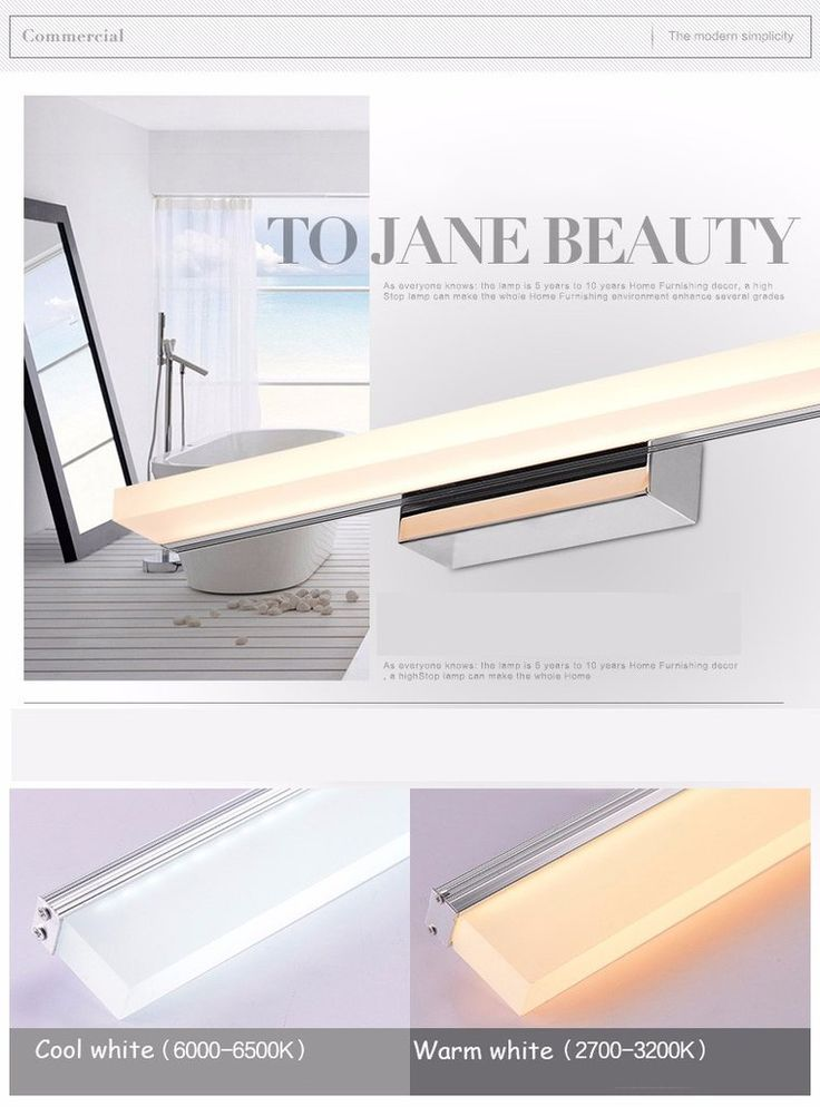 Longer LED Mirror Light 0.4M~1.5M Modern Cosmetic Acrylic Wall lamp Bathroom Lighting Waterproof