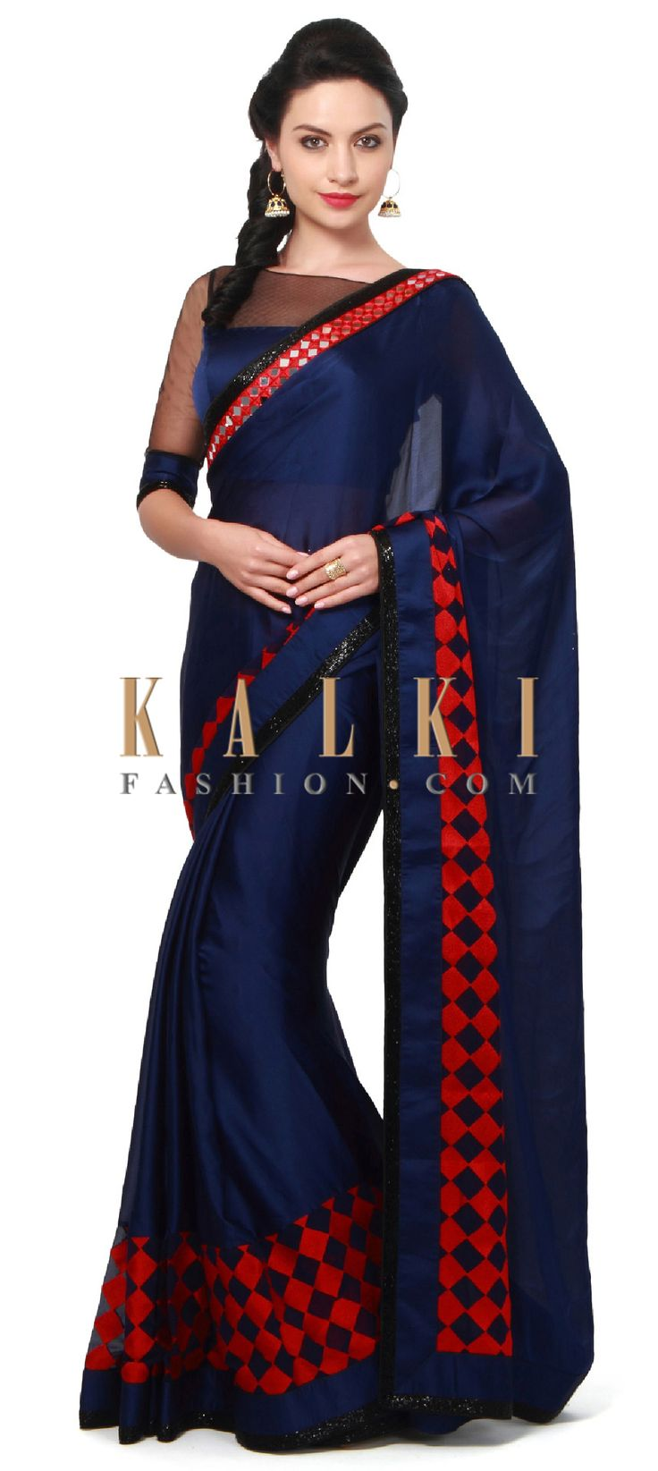 Buy Online from the link below. We ship worldwide (Free Shipping over US$100). Product SKU - 311441.Product Link - http://www.kalkifashion.com/navy-blue-saree-adorn-in-geometric-motif-embroidery-only-on-kalki.html