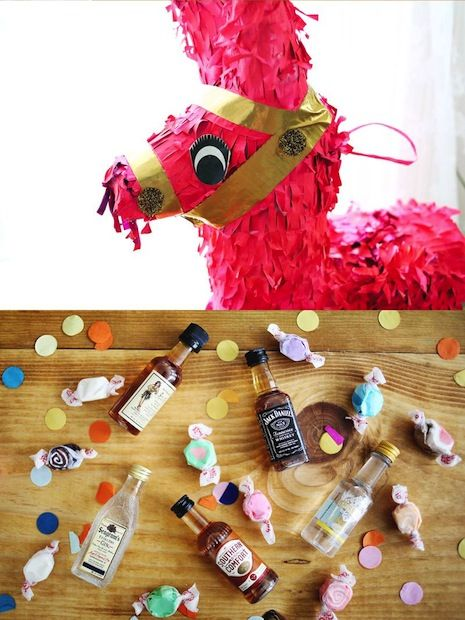 Bachelorette Party Piñata ... A fun way to keep the party going even when you're all grown up. Heck, ANY PARTY after 21 ;) My only concern? Glass bottles in a container that's about to be smashed?