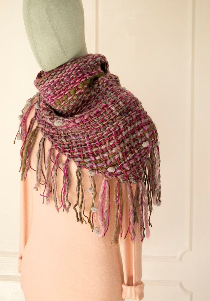 Colorful Shawl, Triangle Shawl, Fringe Scarf, Hand Woven Scarf, Evening Shawl, Large Knit Scarf, Knit Neck Warmer, For Her, Gifts for Mom by BandraWest on Etsy