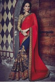 Bemberg Georgette Heavy Embroidery Designer Saree In Red and Blue Colour
