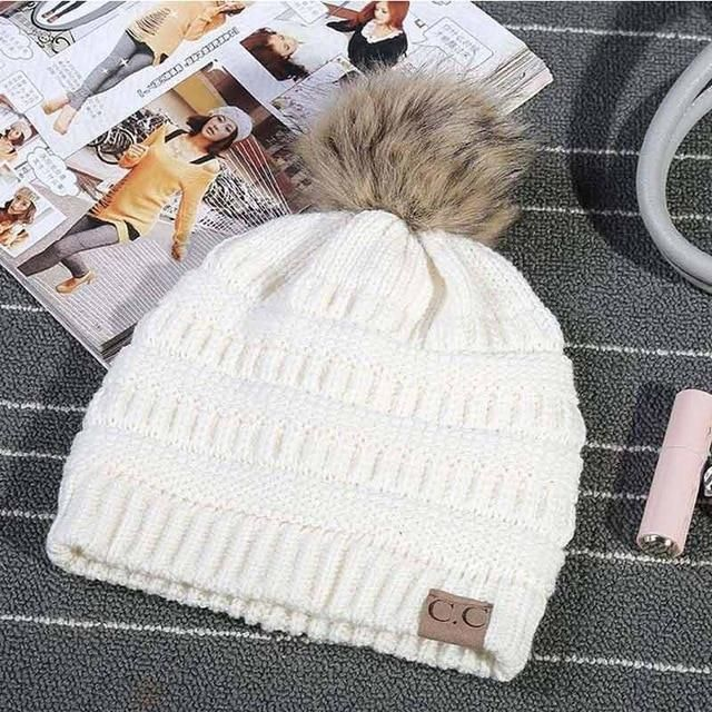 7af6b341b4aaa JTVOVO Brand hats CC label women knitted beanie cap with thicker cashmere  female Pom pop winter