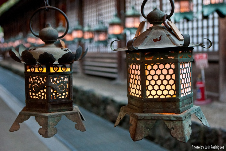Japanese lanterns from Kasuga taisha shrine in Nara- i have one that looks like this in my yard.
