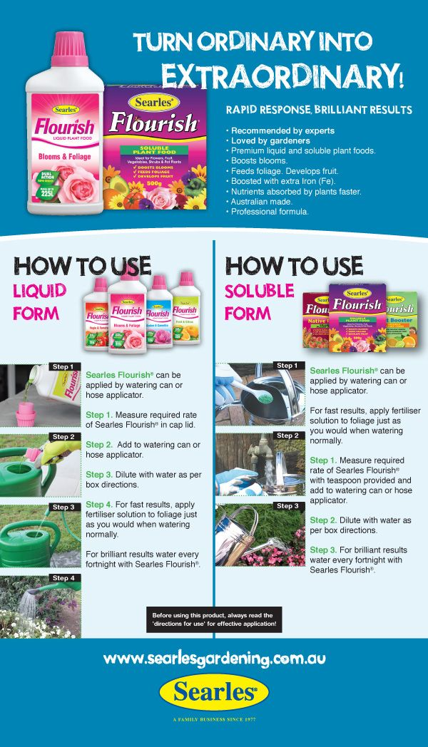 Searle Flourish Flower Fertiliser HOW TO USE