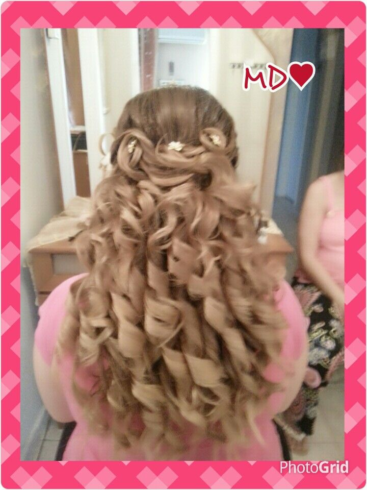 Curly hair style for long hair...♡