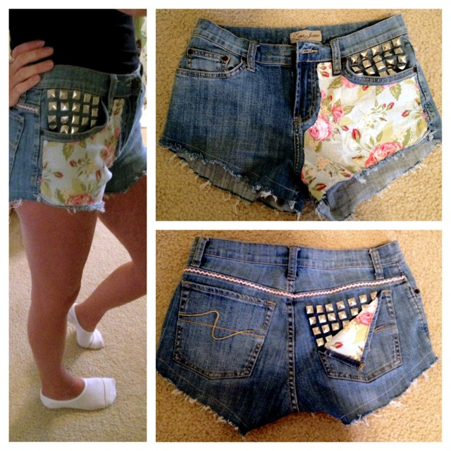 Shorts I made out of an old pair of jeans from Goodwill!