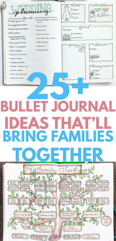 25+ LOVELY Bullet Journal Ideas for Families