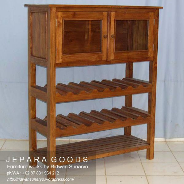 A minimalist style of bottle rack cabinet made of teak solid Indonesia by the Jegoods Woodworking Studio. Furniture manufacturer produced indoor wooden furniture at factory prices. #teakcabinet #bottlerack #indonesiafurniture