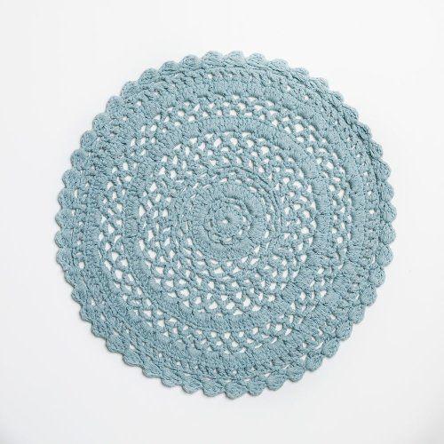 Mint crochet rug for reading corner