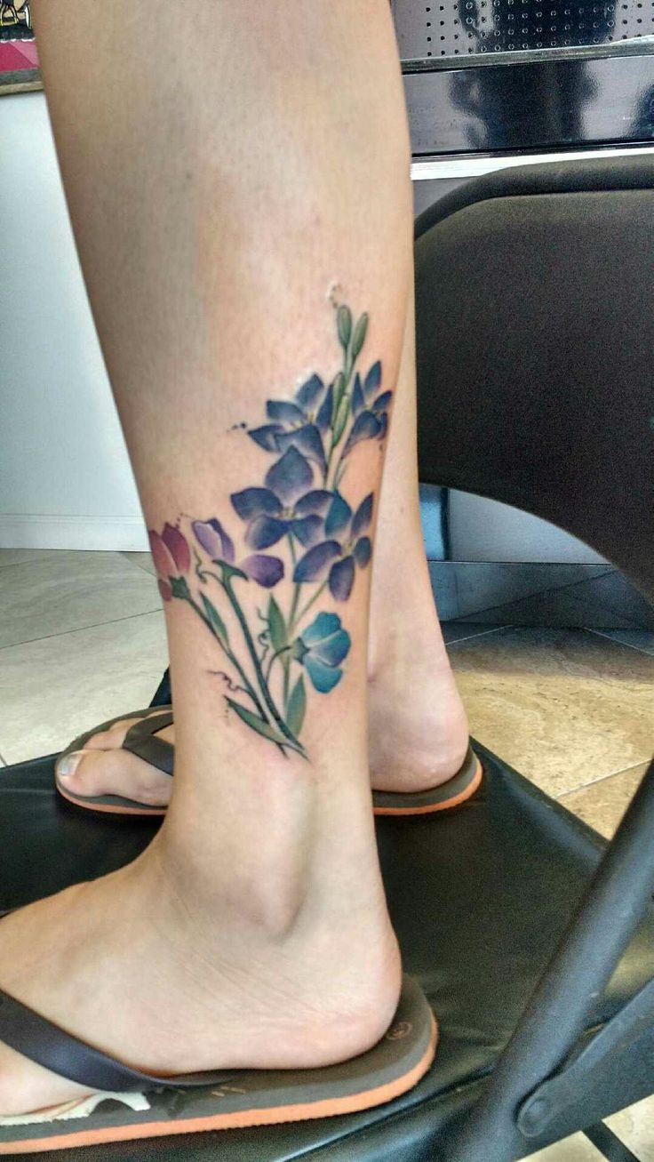 My sweet pea and larkspur tattoo I got with my momma! done at Studio 13. Kay Allday's work.