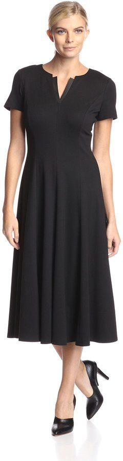 Lafayette 148 A-Line Dress with Faux Leather