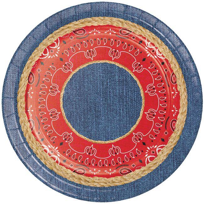 Bandanarama 7 Inch Plates Creative Converting Red Dinnerware Set Dessert Plate