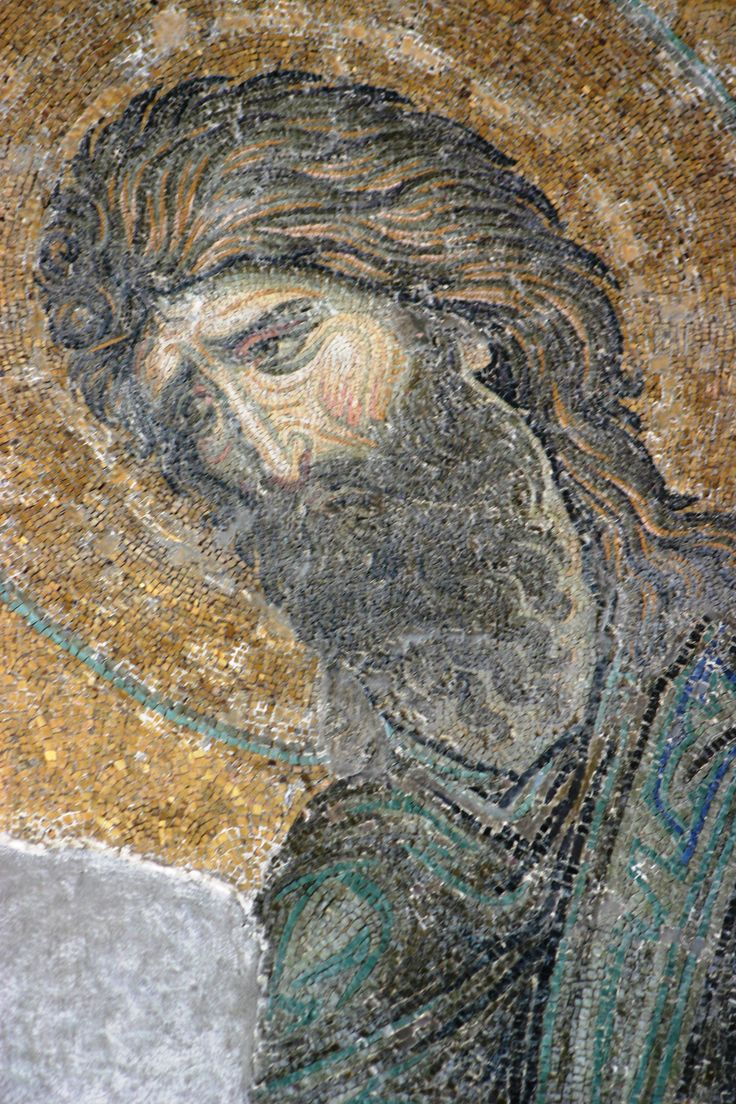 Basilica di Santa Sofia, Istanbul. Deesis. Cristo benedicente tra Madonna e San Giovanni Battista. Mosaico, XII secolo, Rinascenza comnena, datazione di Lazarev