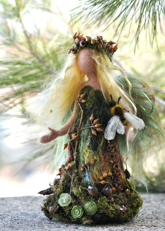 Needle felted Waldorf Love Forest Maiden- soft sculpture -needle felt by Daria Lvovsky. $78.00, via Etsy.