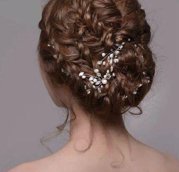 Pearl hair pins, wedding hair pins, decretive pins, pearl and silver pins, flower hair pins, flower