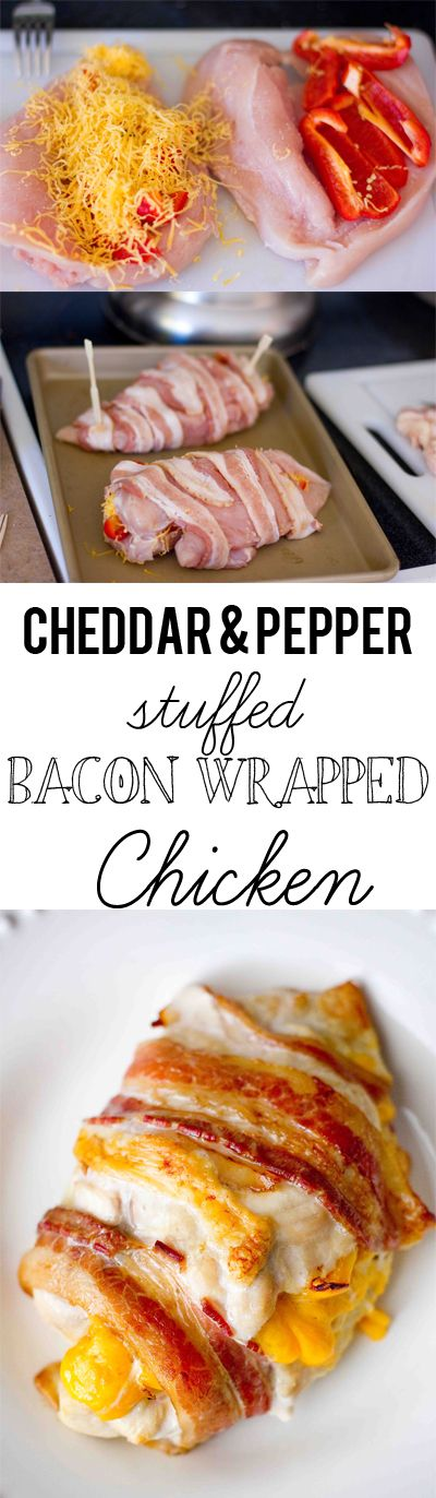 Cheddar and pepper stuffed bacon wrapped chicken- deceptively easy to make and SO GOOD! The technique at sweetcsdesigns helps keep chicken moist and flavorful in the oven #chicken #bacon