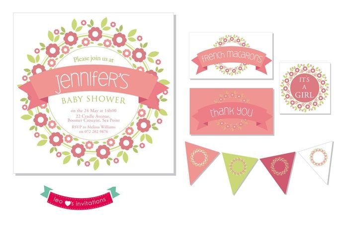 Flower Themed Baby Shower Printable by Leo Loves Invitations on hellopretty.co.za