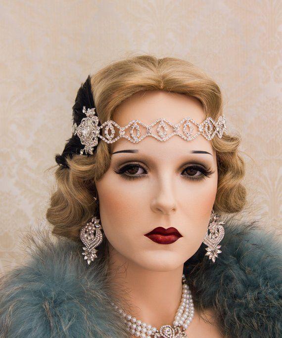 VINTAGE DECO 1920s MULTI-COLOR CRYSTALS HEADBAND FESTIVAL Wed Bridal  Hairwrap