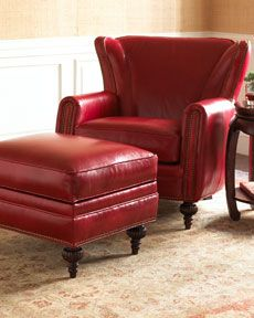 Exceptional Red Leather Chair With Ottoman
