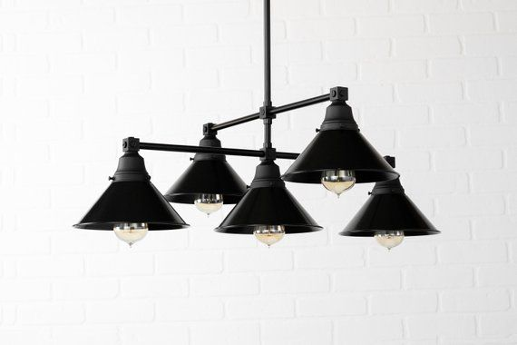 Black Shade Chandelier Five Shade Ceiling Light Edison Bulb