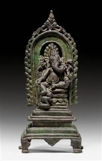 *A FINE AND RARE BRONZE FIGURE OF THE SEATED GANESH ON A THRONE. India, Pala period, 11th c. Height 16 cm.