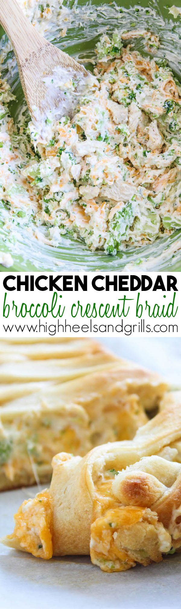 Chicken Cheddar Broccoli Crescent Braid - Cream cheese, chicken, cheddar, and broccoli stuffed into a beautiful crescent braid. {Which looks more intimidating than it really is} This is a dinner favorite for sure!