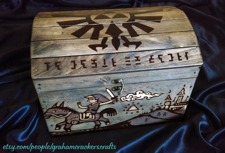 Legend of Zelda Themed Wooden Storage Chest ( Hand Burned ) Customizable Design/ Name Engraving 14 X 9.5 X 10.5 (inches) by GrahamCrackersCrafts on Etsy https://www.etsy.com/listing/265911099/legend-of-zelda-themed-wooden-storage