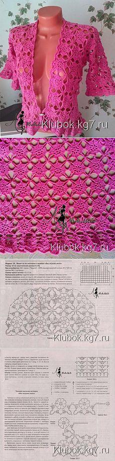 Жакет из мотивов в технике безотрывного вязания | Клубок [] #<br/> # #Jacket,<br/> # #Art,<br/> # #Tric,<br/> # #Boleros,<br/> # #Weave,<br/> # #Dresses,<br/> # #Crochet<br/>