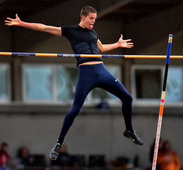 Gunnar Nixon, from the United States, makes an attempt during the pole vault competition during the mens decathlon at the Hypo Meeting in Goetzis, Austria, on May 26, 2013. (Photo by Kerstin Joensson/Associated Press)