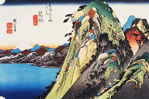 Squeezed between mountains at 725m above sea level, Hakone was the tenth and highest station of the Tokaido. Hiroshige's work depicts the rugged path which confronted travellers through the Hakone mountain range beside the calm surface of Lake Ashinoko, with Mount Fuji in the distance.
