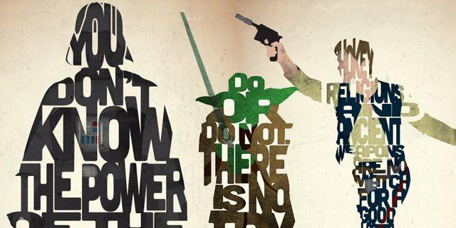 Affiches typographiques avec des citations de Star Wars