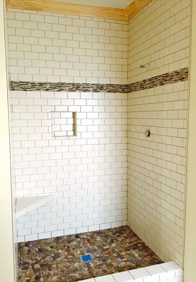 White Subway Tile With River Rock Bottom Shower White Tile