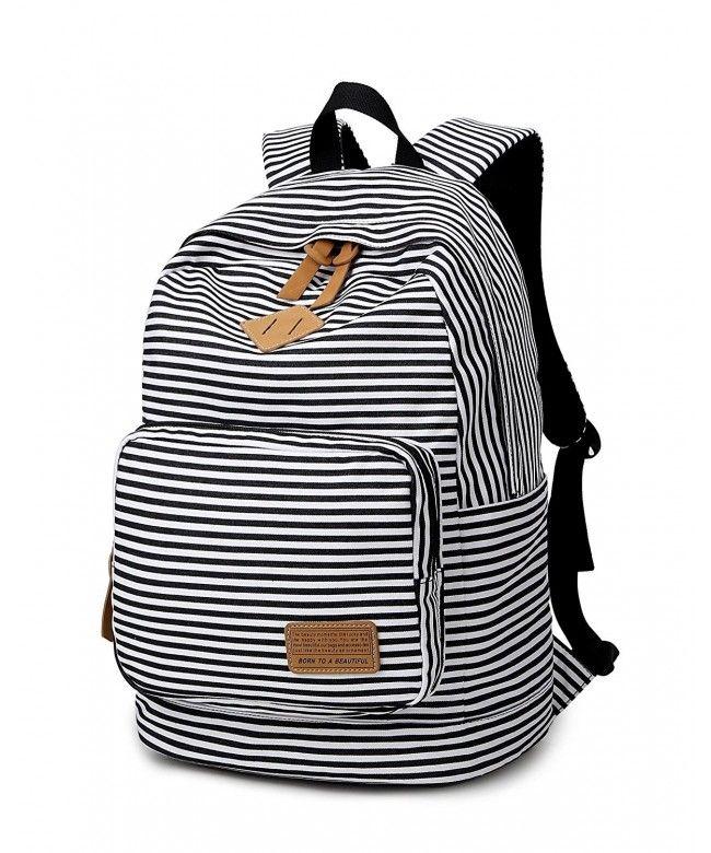 Striped Canvas Backpack Girls School Bag Women Casual Travel Daypack -  black - C5182LZGZE9  Bags  Handbags  Backpacks  gifts  Style 797fe2e976085