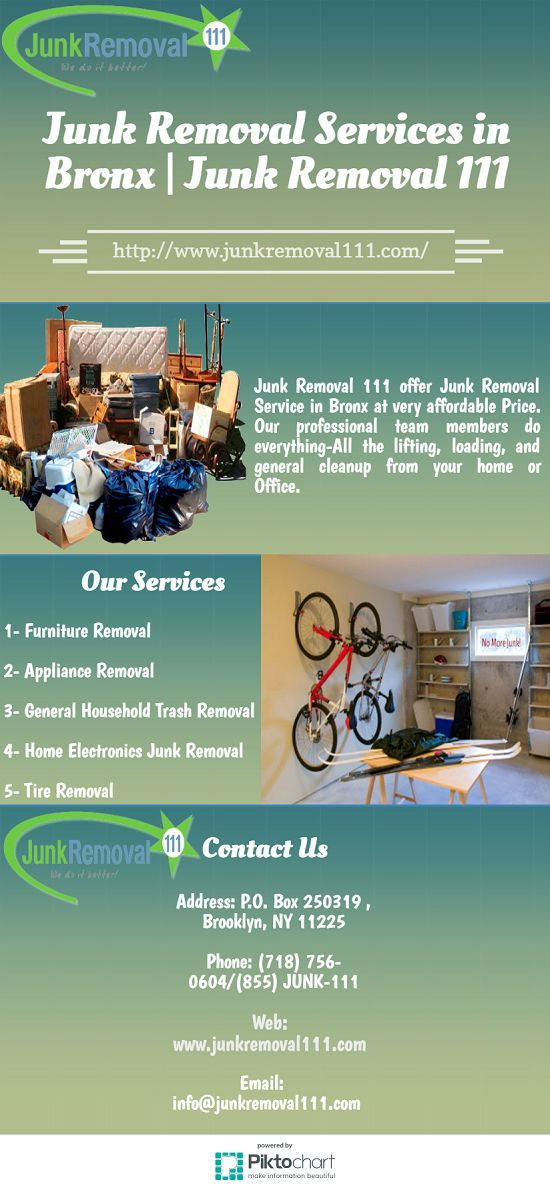 Junk Removal 111 offer Junk Removal Service in Bronx at very affordable Price. Our professional team members do everything-All the lifting, loading, and general cleanup from your home or Office. Visit at http://www.junkremoval111.com/