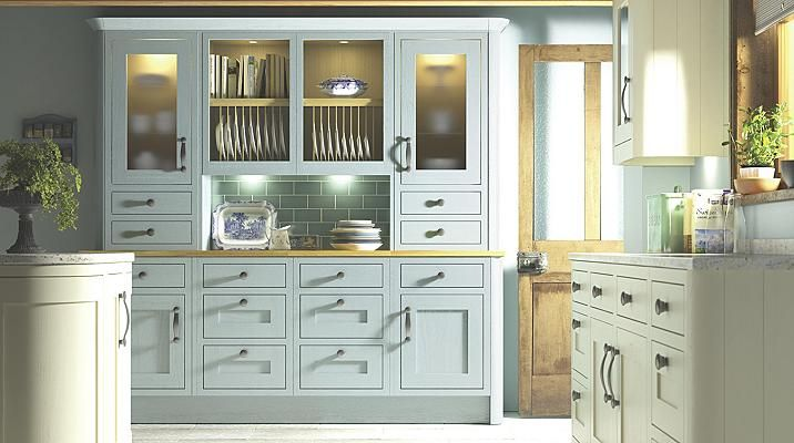 Carisbrooke blue cooke lewis kitchen doors drawer for Kitchens b q cooke and lewis