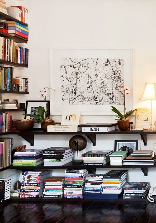 Low shelves and glossy floors
