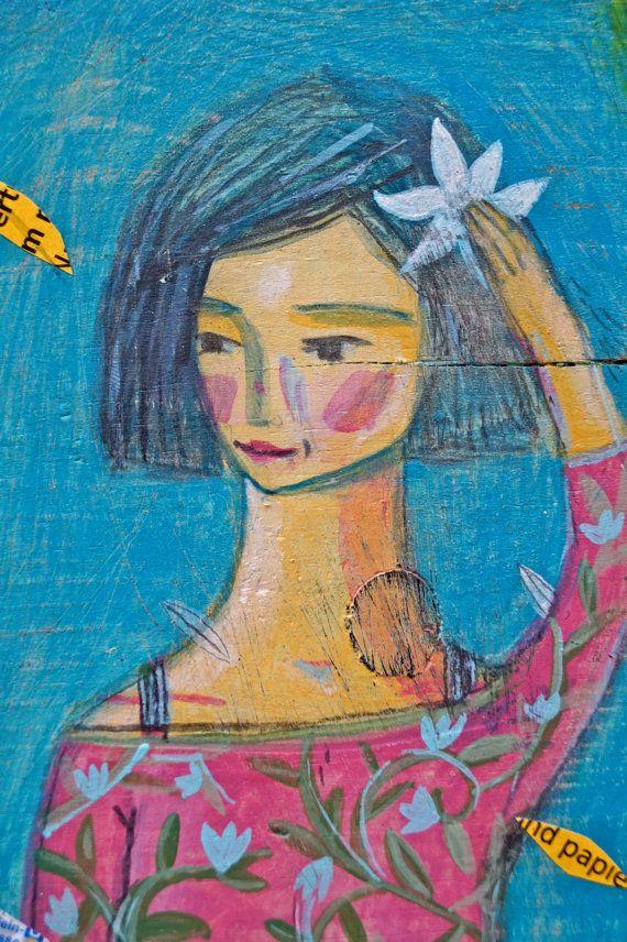 Woman in spring Rustic Wall Decor Art Original by AyeletGadArt