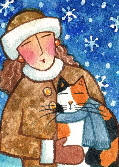 Winter Cat Lady and Calico Kitty Original ACEO watercolor painting art by Susan Faye, SusanFayePetProjects on Etsy, $15.00