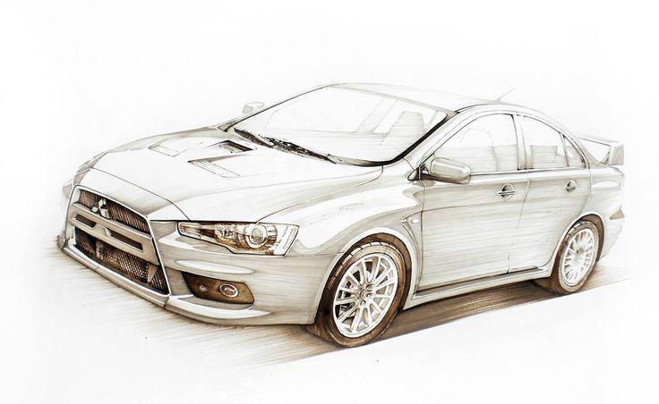 Mitsubishi Lancer Evo X Markers 70x50cm drawn in 2010  by Tomek Włoga